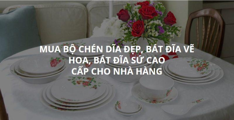 Mua bộ chén dĩa đẹp, bát đĩa vẽ hoa, bát đĩa sứ cao cấp